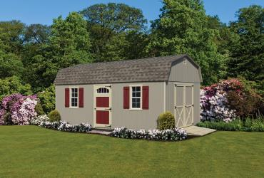 Standard Barn Style Duratemp T1-11 12' x 20' Clay paint, beige trim/doors/shutters and weatherwood shingles