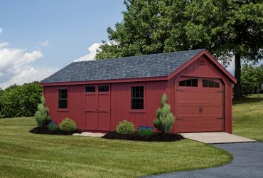 New England Classic Single Car Garage -Duratamp T1-11 Siding -4