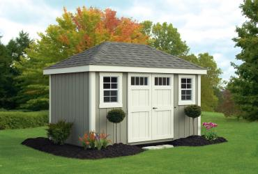 New England Classic Hip Roof Shed-Duratemp T1-11 Siding-1