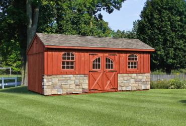 Quaker Board & Batten Pine Shed with Stone-5