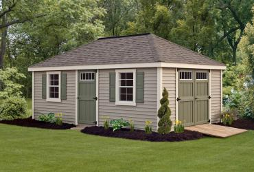 New England Classic Hip Roof Shed-Vinyl Siding-5
