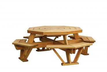 Octagon Picnic Table (Benches Built-In)