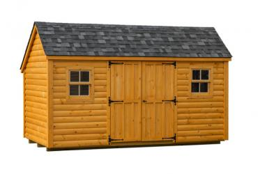 Salt box with log siding