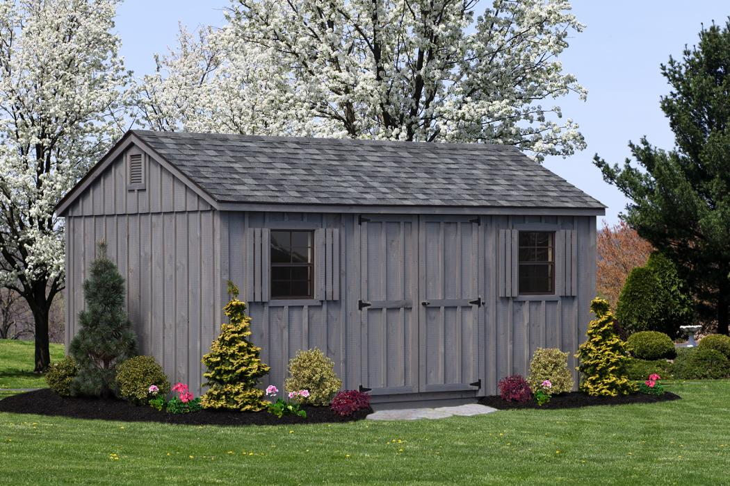 10x16 grey stain aframe board and batten storage shed