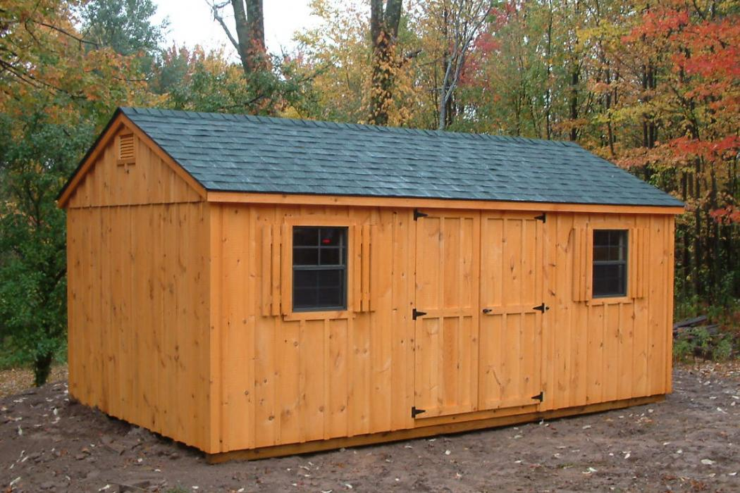 aframe board and batten shed cedartone stain