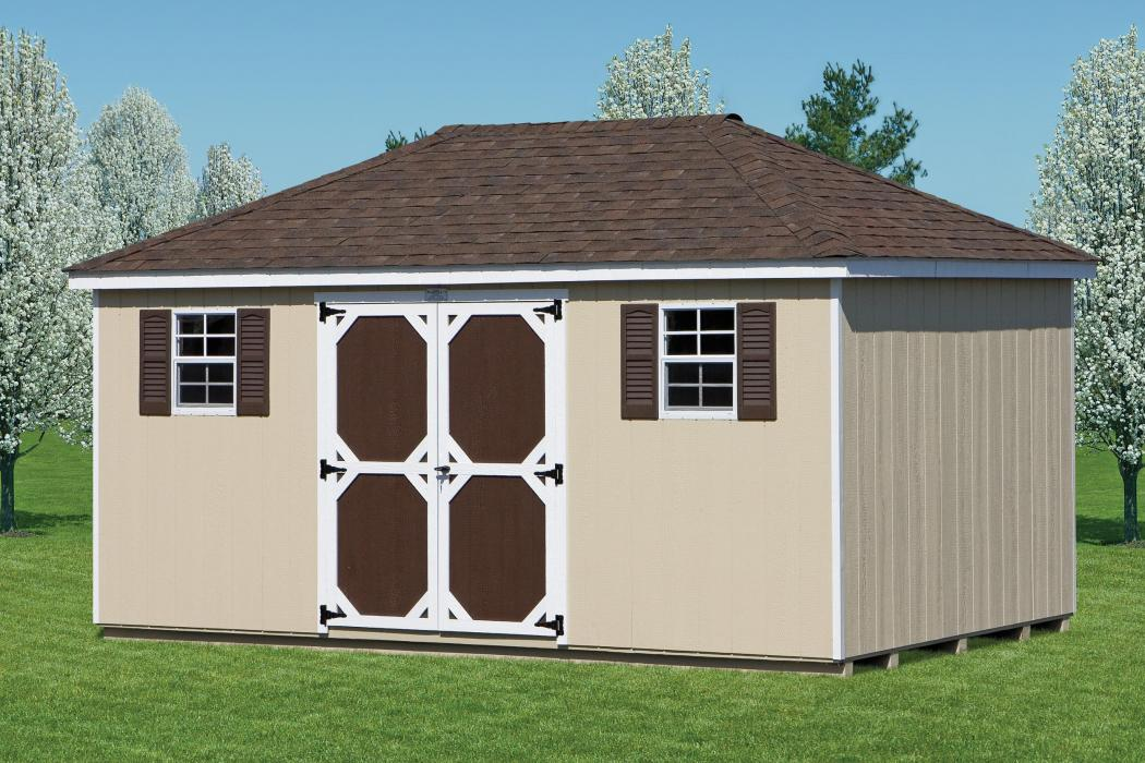 Hip Roof Duratemp T1-11 Storage Shed