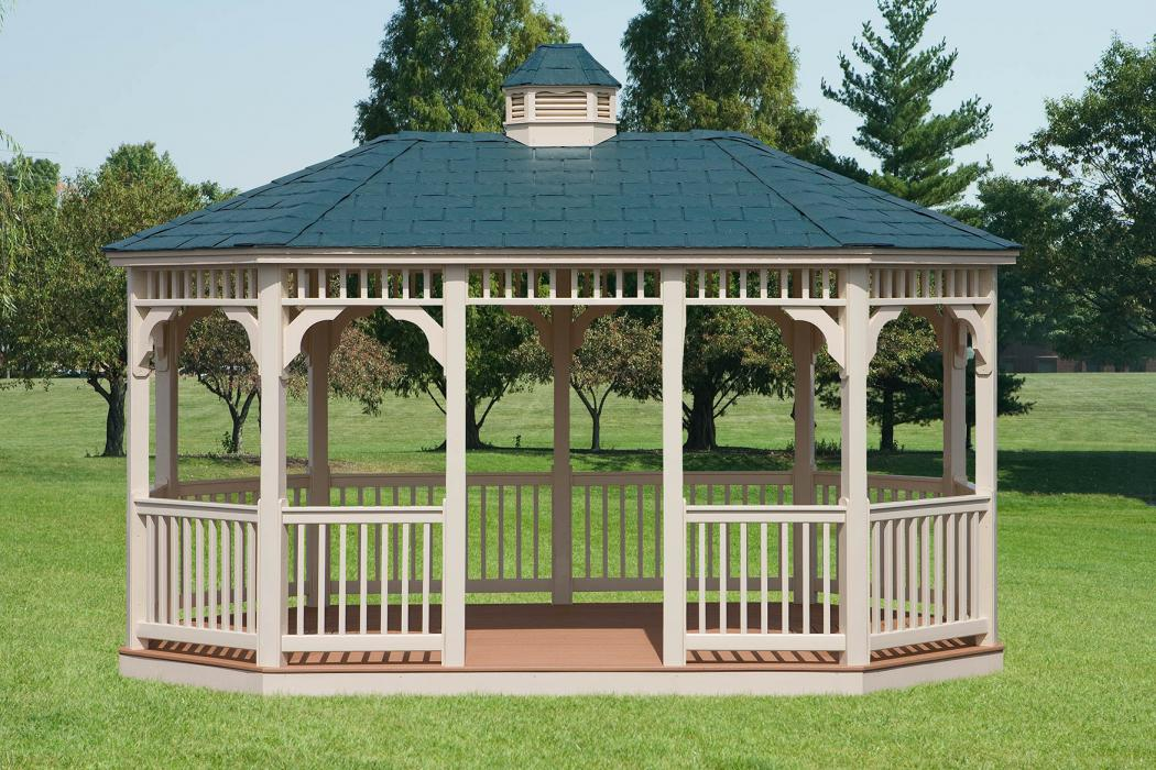 Vinyl Oval Gazebo- Classic Single Roof-2