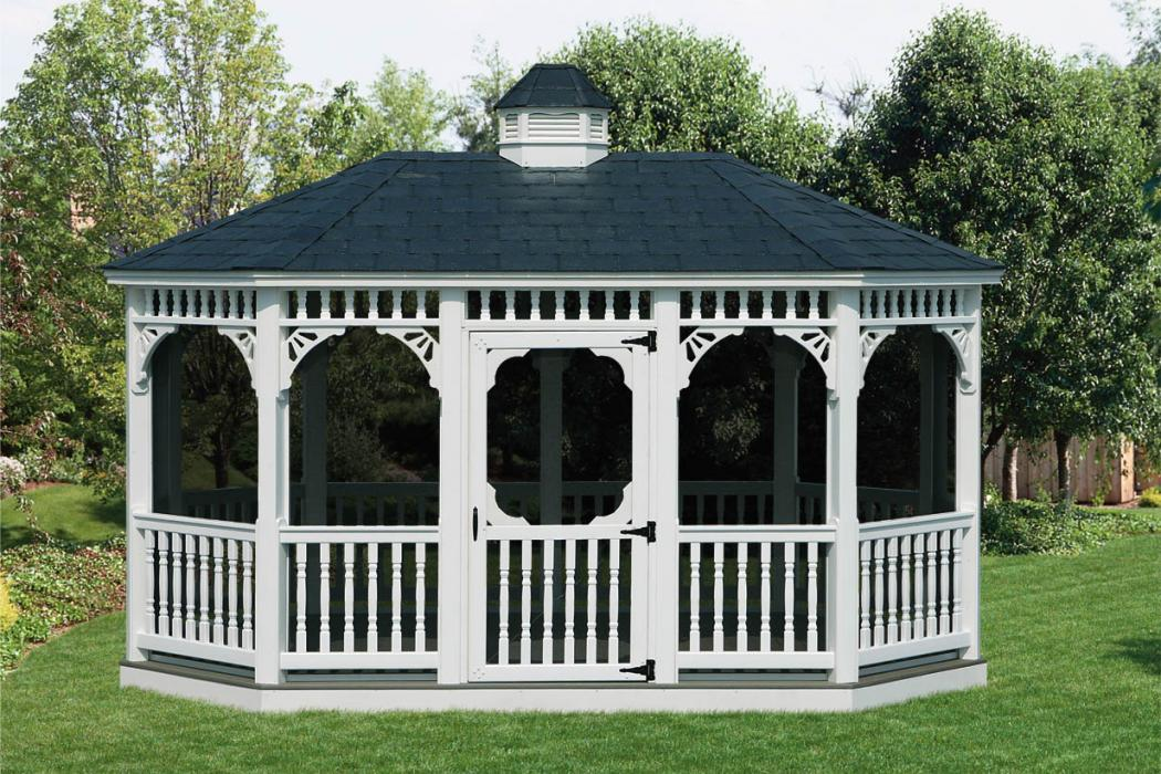 Vinyl Oval Gazebo- Classic Single Roof-1
