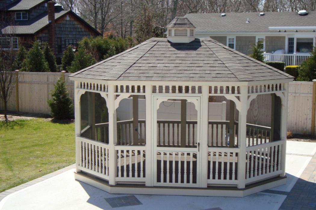Vinyl Oval Gazebo- Classic Single Roof-4