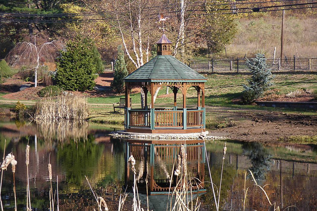 Pressure Treated Wood Octagon Gazebo-Cathedral Roof-1