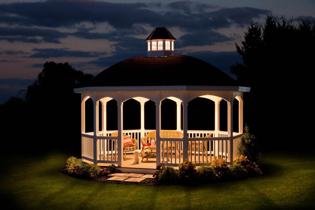 Vinyl Oval Gazebo with Belle Roof -2