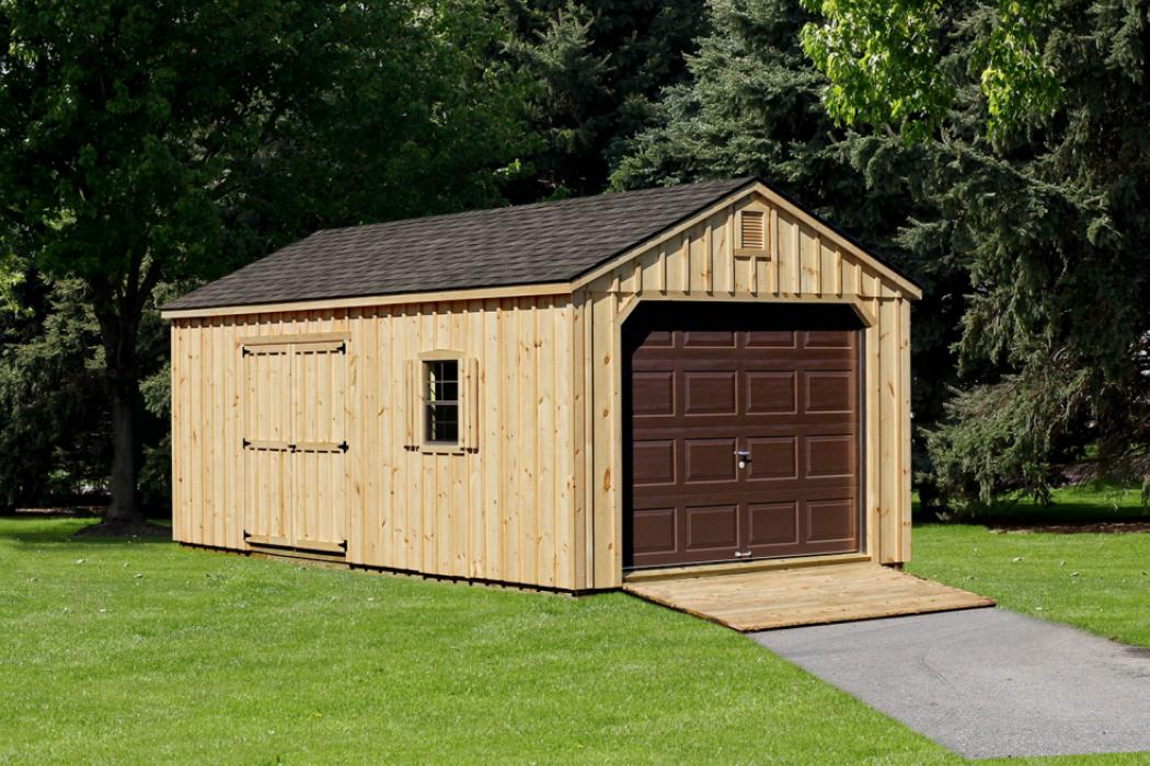 Aframe Single Car Garage Board and Batten Pine-1