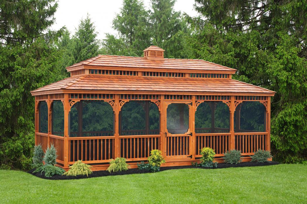 Cedar Rectangle Gazebo-Victorian Double Roof-1