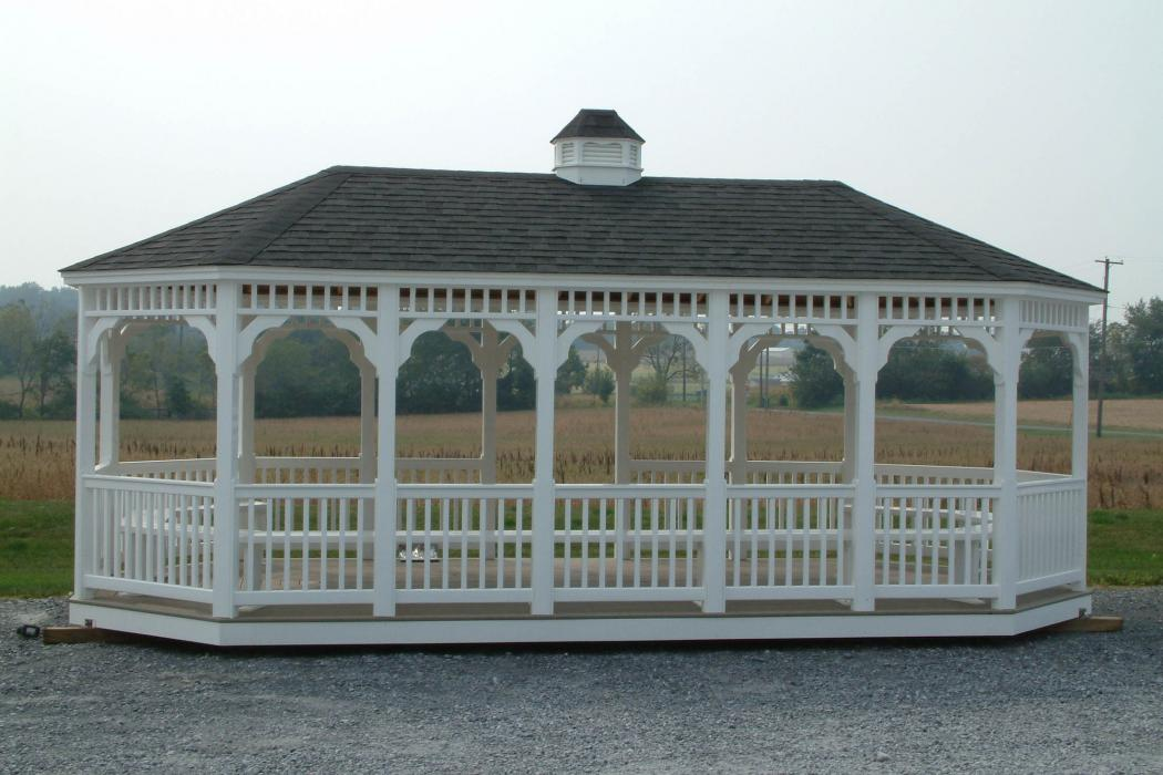 Vinyl Oval Gazebo- Classic Single Roof-5