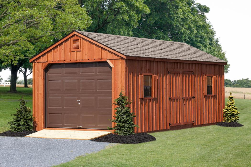 Aframe Single Car Garage Board and Batten Pine-2