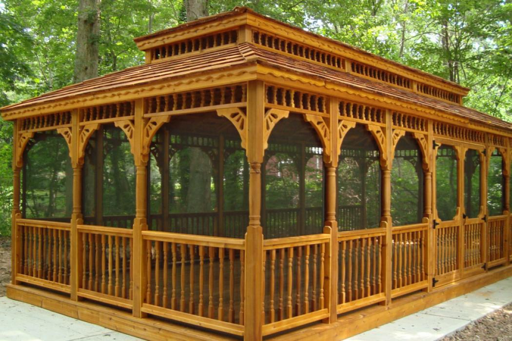Cedar Rectangle Gazebo-Classic Single Roof-3