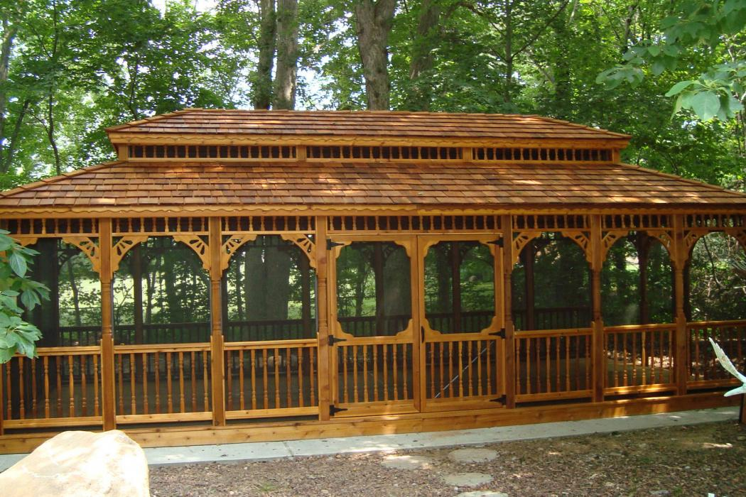 Cedar Rectangle Gazebo-Classic Single Roof-2