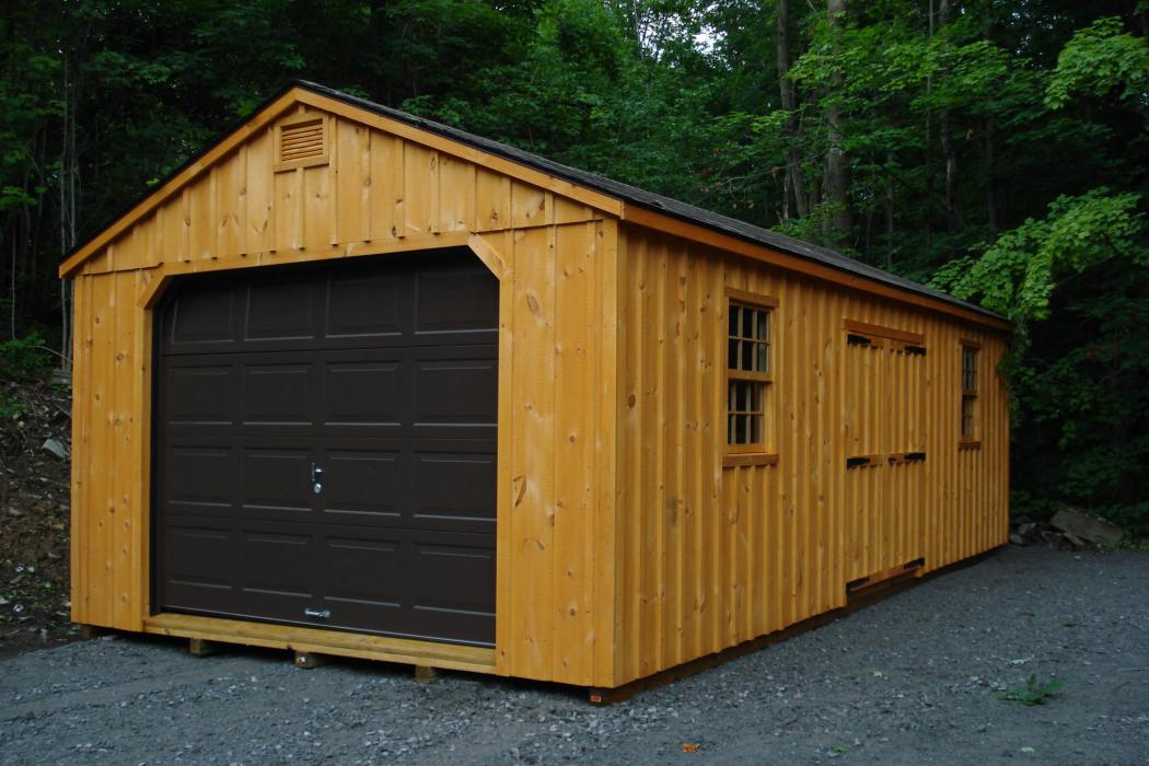 Aframe Single Car Garage Board and Batten Pine-6