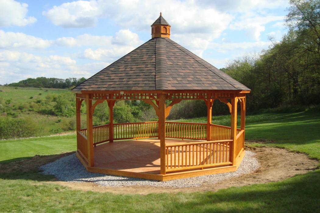 Pressure Treated Wood Octagon Gazebo-Cathedral Roof-2