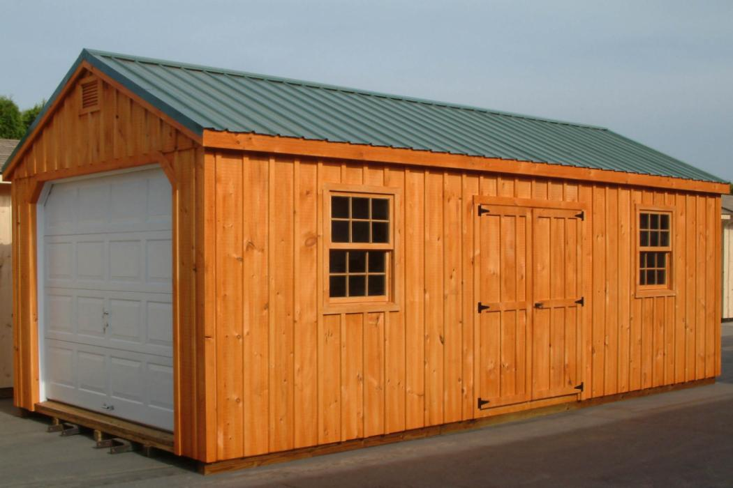Aframe Single Car Garage Board and Batten Pine-4