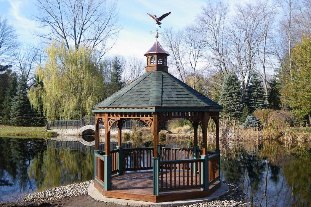Pressure Treated Wood Octagon Gazebo-Cathedral Roof-3