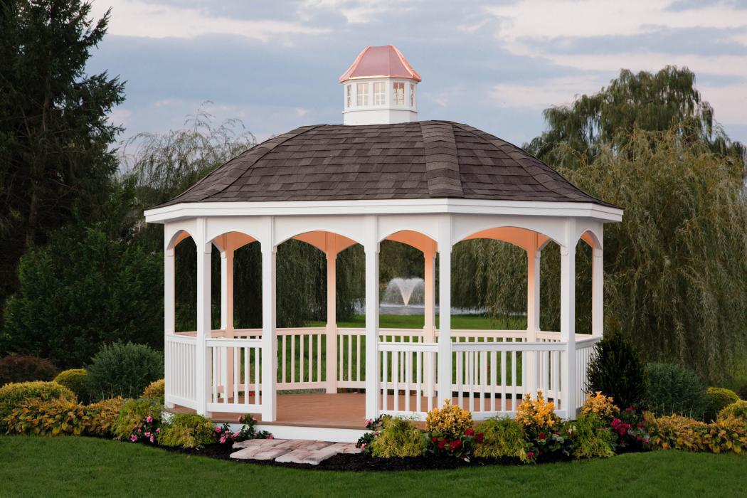 Vinyl Oval Gazebo with Belle Roof -1