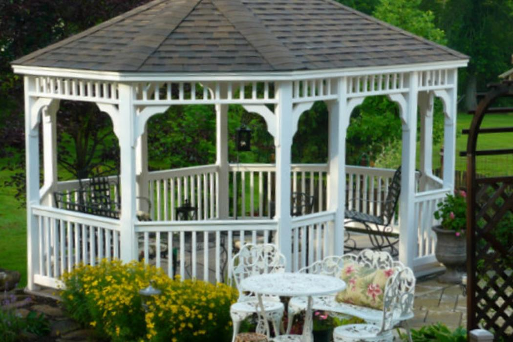 Vinyl Oval Gazebo- Classic Single Roof-12