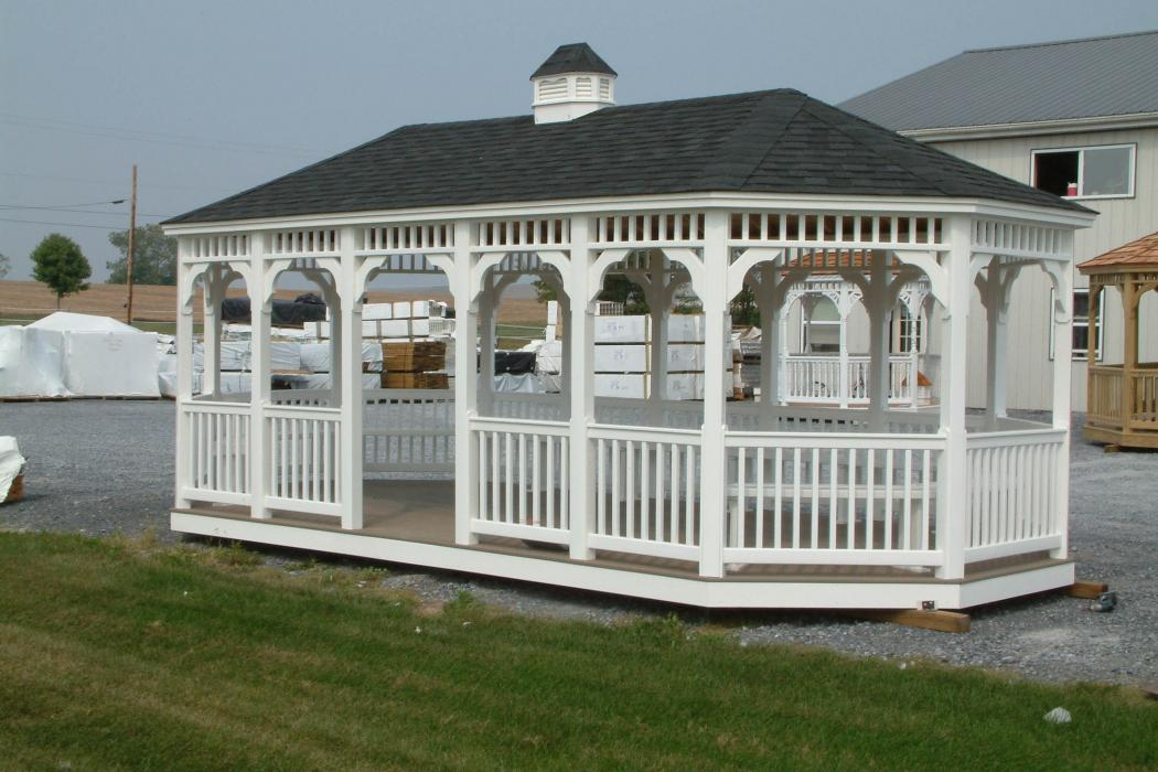 Vinyl Oval Gazebo- Classic Single Roof-7