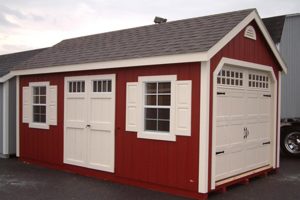 New England Classic Single Car Garage -Duratamp T1-11 Siding -5