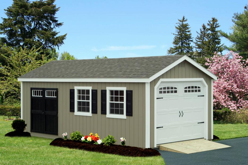 New England Classic Single Car Garage -Duratamp T1-11 Siding -7