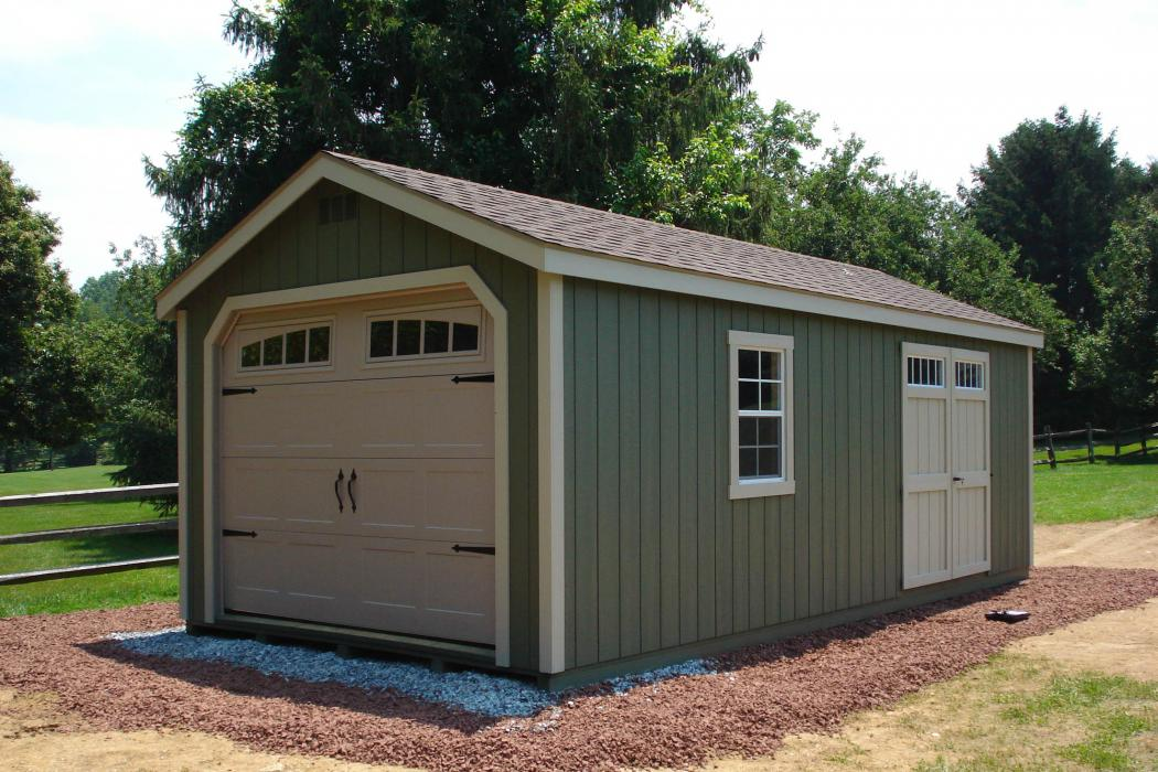 New England Classic Single Car Garage -Duratamp T1-11 Siding -8