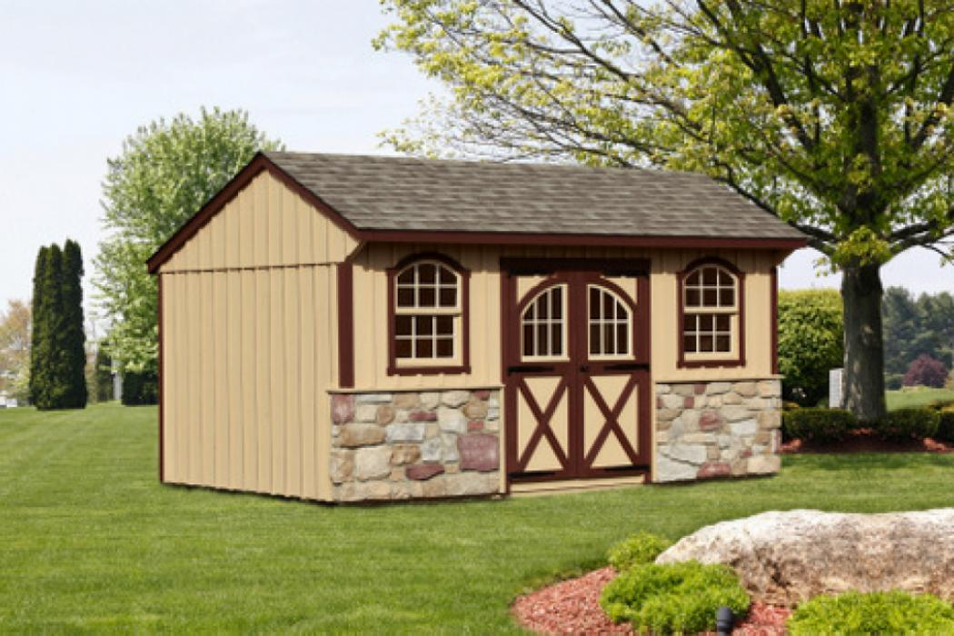 Quaker Board &Batten Pine Shed with Stone