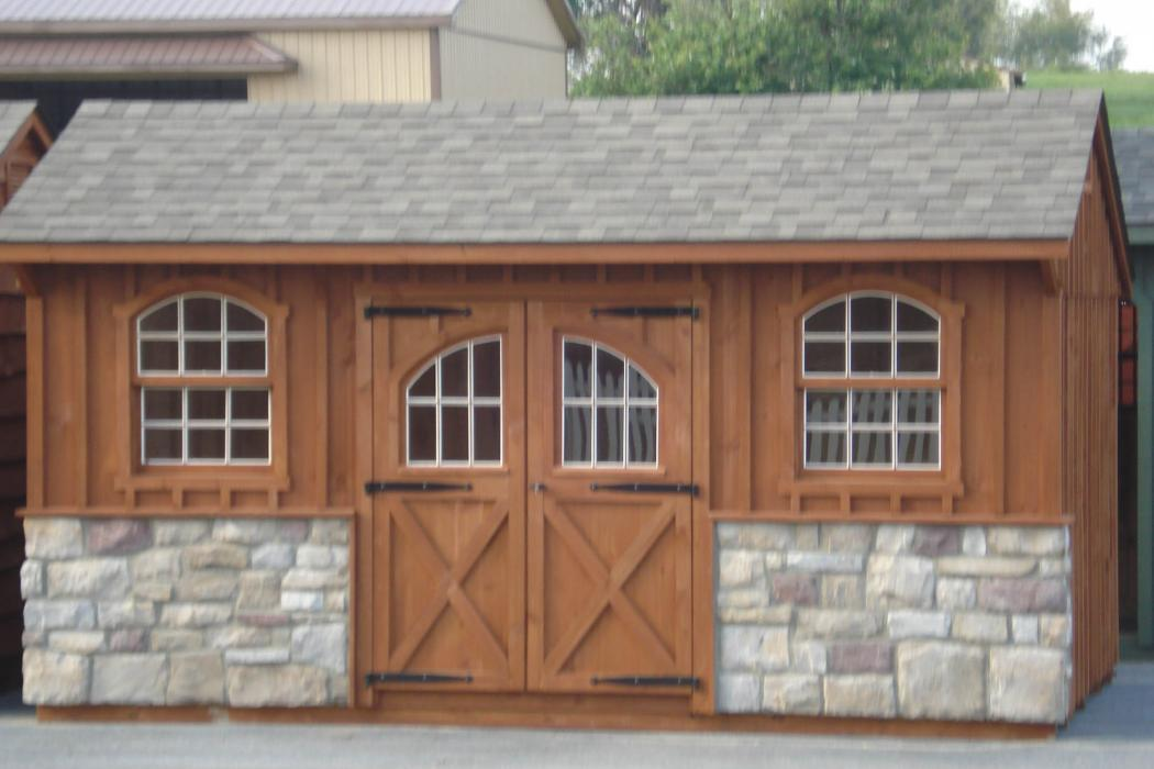 Quaker Board & Batten Pine Shed with Stone-1