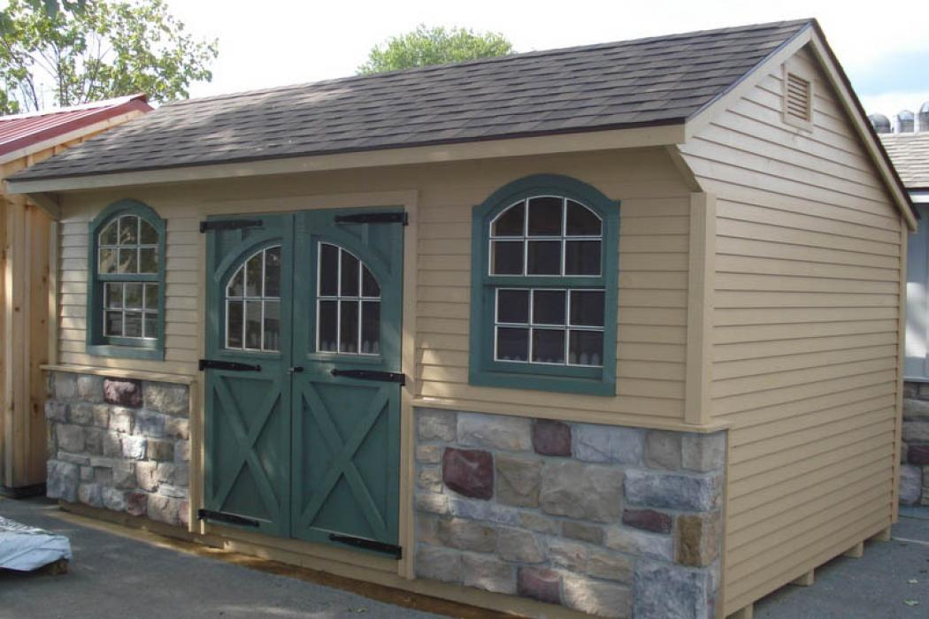 Quaker Board & Batten Pine Shed with Stone-2