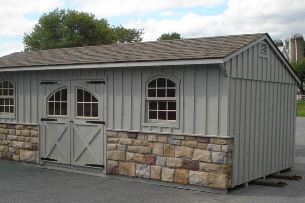 Quaker Board & Batten Pine Shed with Stone-3