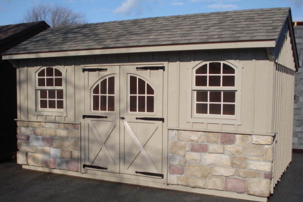 Quaker Board & Batten Pine Shed with Stone-4