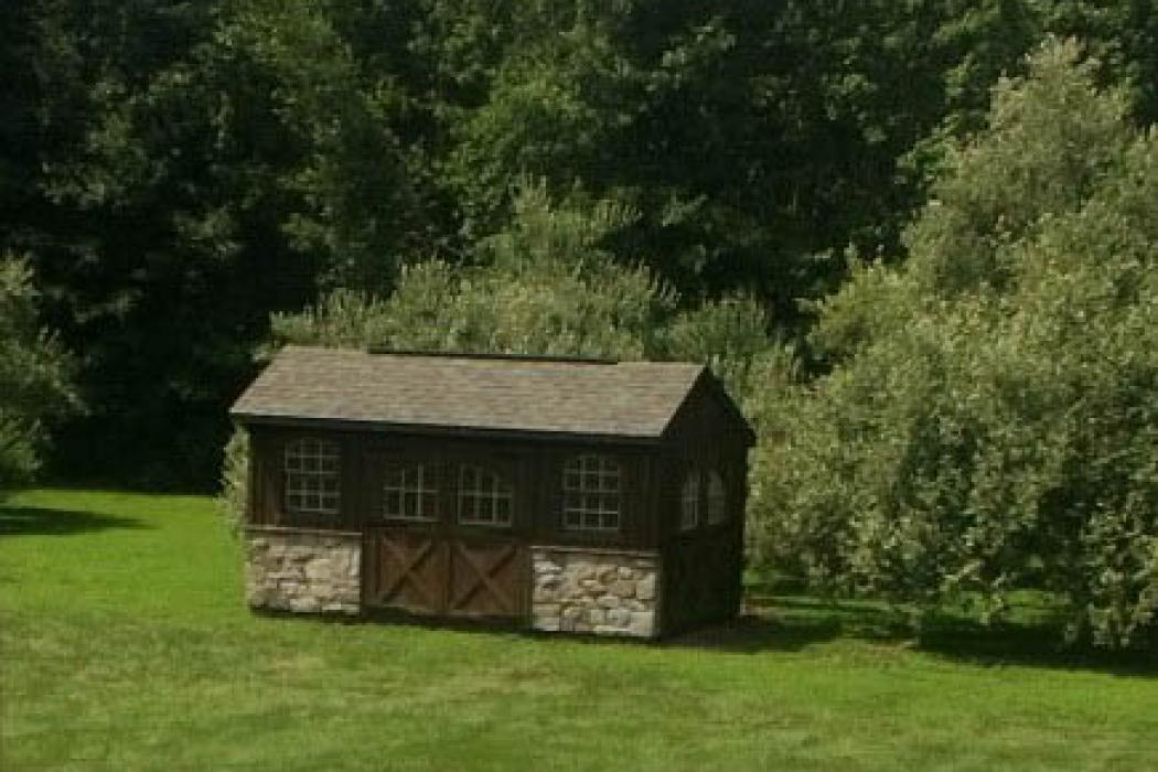 Quaker Board & Batten Pine Shed with Stone-6