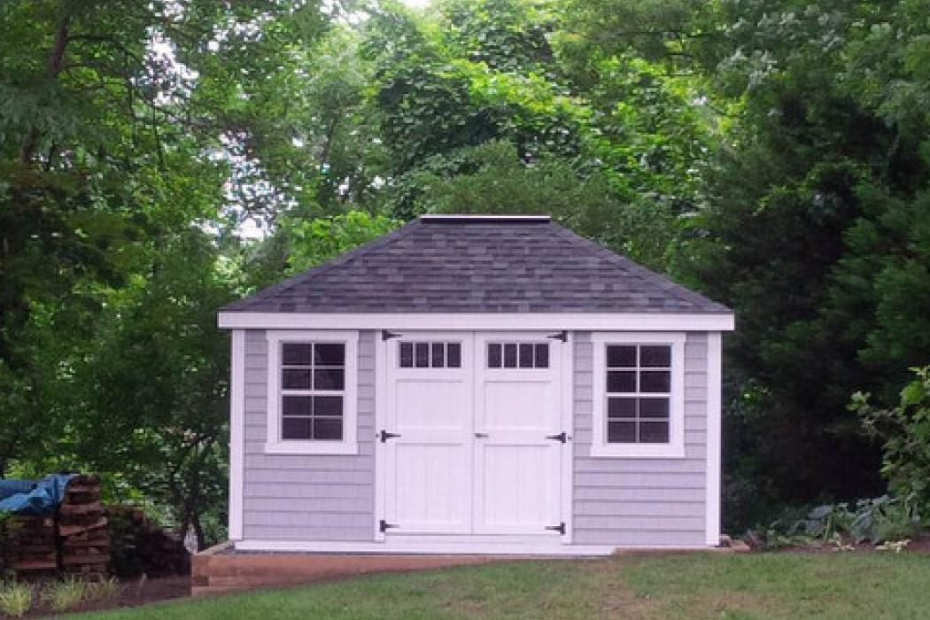 New England Classic Hip Roof Shed-Vinyl Siding