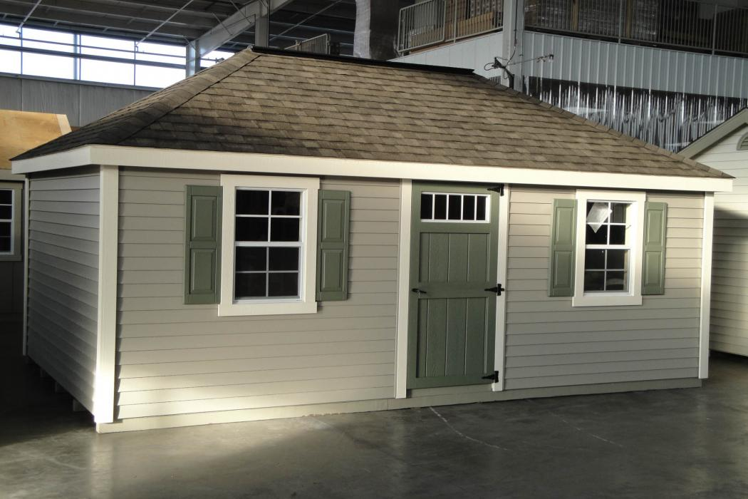 New England Classic Hip Roof Shed-Vinyl Siding-2