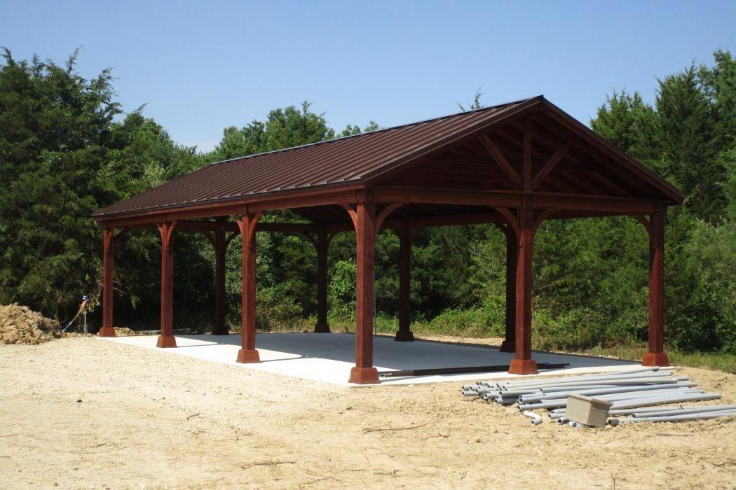 20x40 A-Frame Wood Pavilion Mansard brown Canyon brown