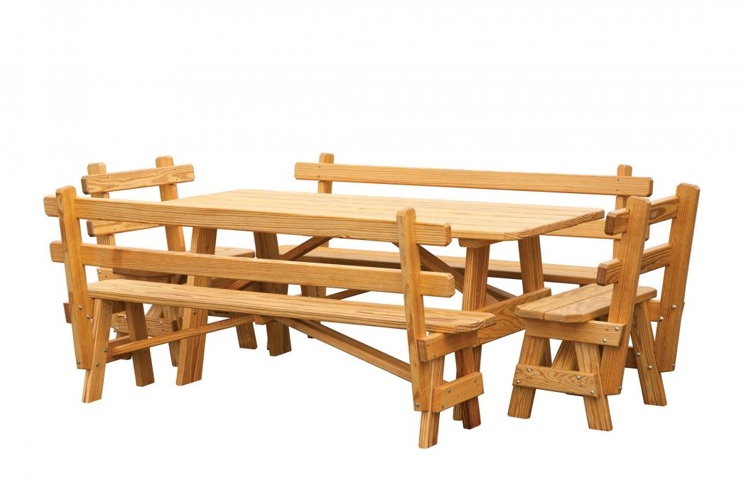 Regular Picnic Table 4 Benches With Backs