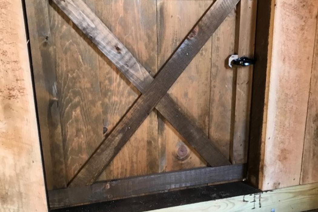 goat barn door interior side