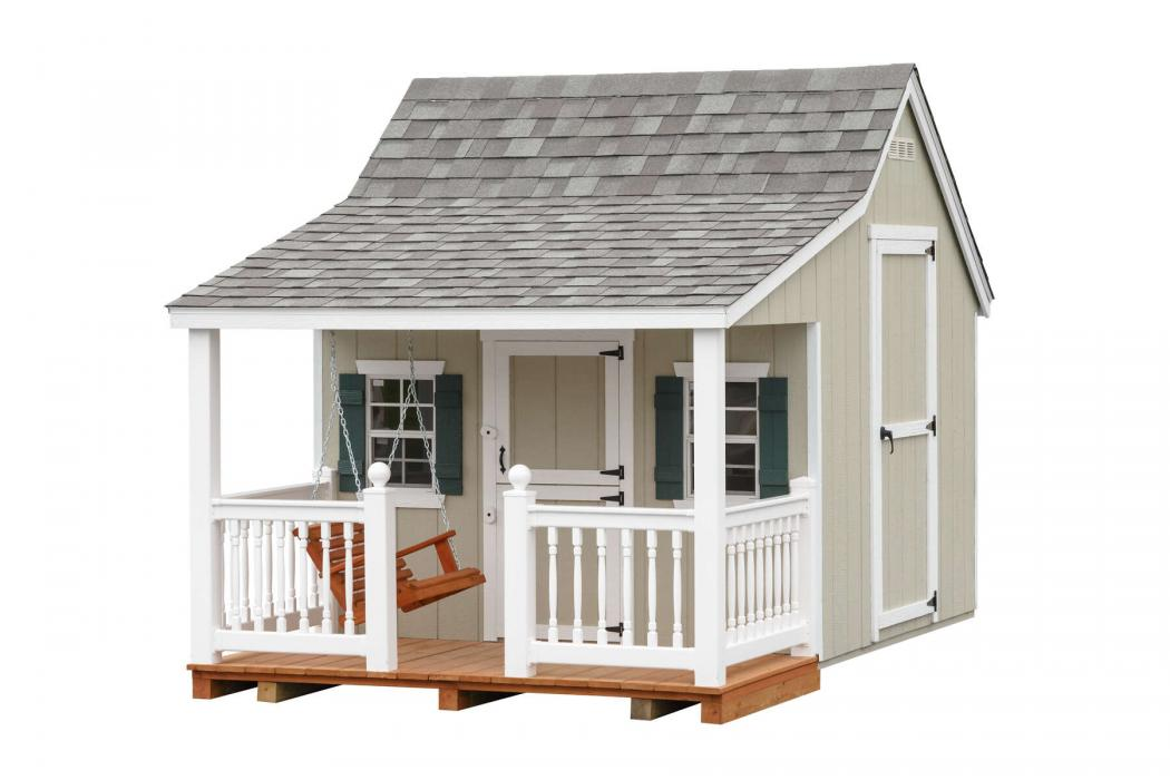8 x 12 Cottage Playhouse w/ Porch Swing